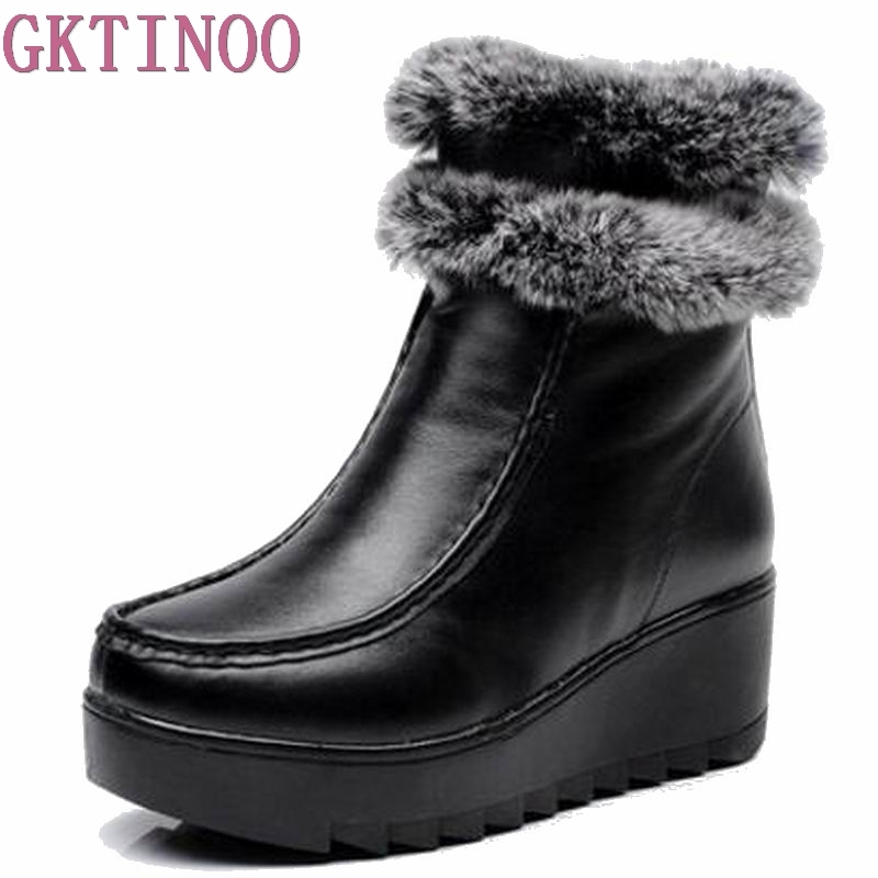 Rabbit Fur Winter Boots Genuine Leather 2018 Cowhide Women