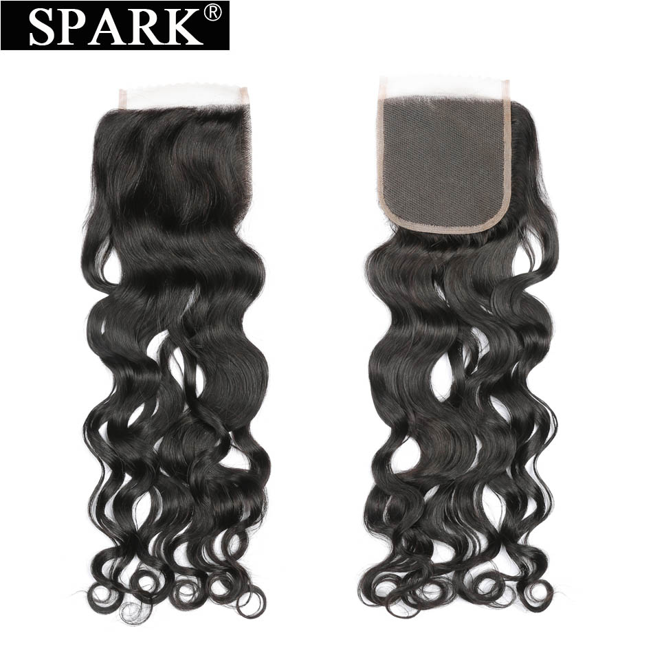 Spark Hair Brazilian Water Wave Lace Closure 4x4 Free/Middle/Three Part Knots Bleached Closures 100% Remy Human Hair Closure