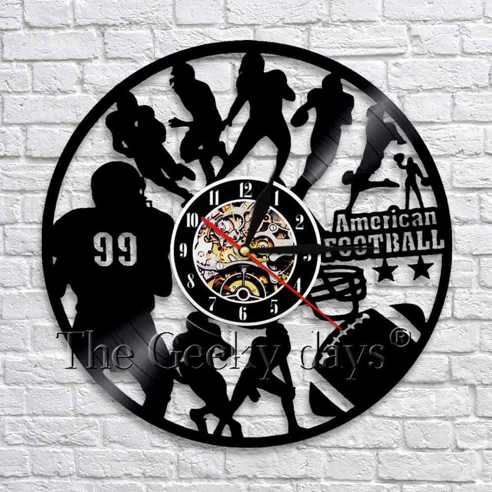 American Football Team Sport Wall Art Decor Wall Clock Modern Design Vinyl Clock 3D Wall Watch Gift For Football Fans