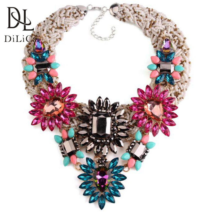 DiLiCa Gorgeous Crystal Flower Bib Statement Necklace Boho Beaded Chain Collar Choker Women Costume Necklaces & Pendants yfjewe crystal necklace women rhinestone pendant necklace ribbon choker bib collar necklace n084