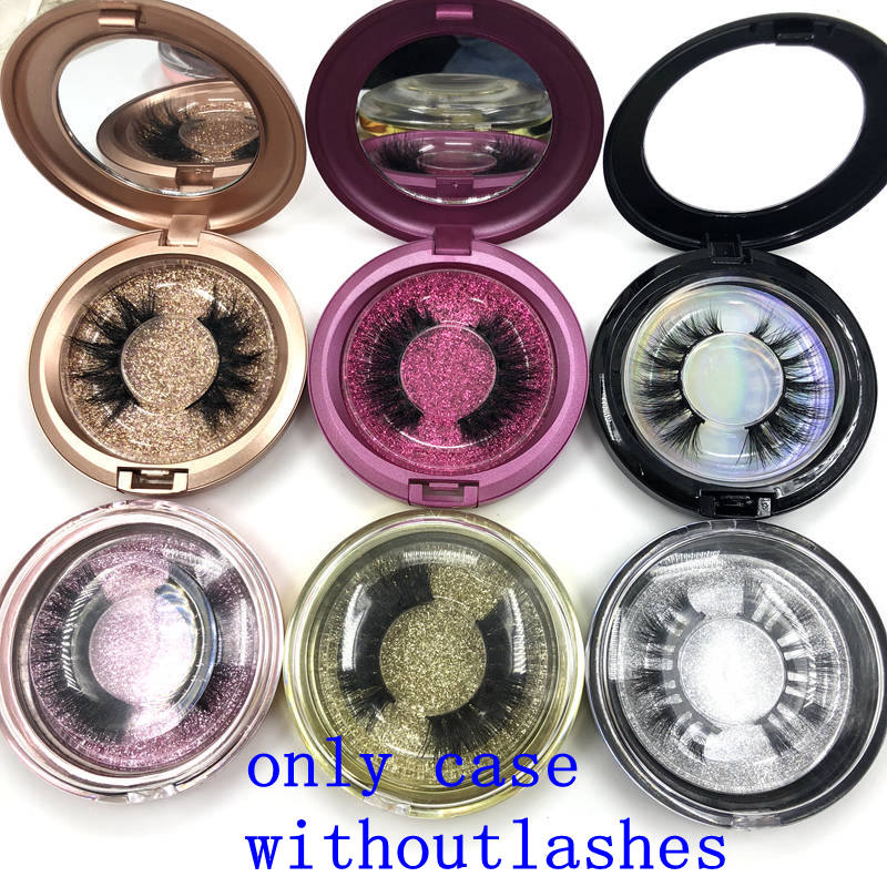 Mikiwi Custom Packaging 20pcs Plastic Round Case With Tray Wholesale Mink Lashes Private Label Logo Packing