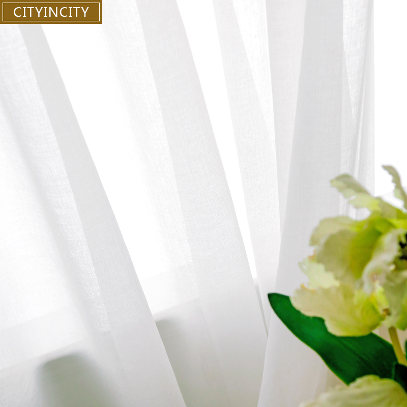 CITYINCITY רך לבן טול וילונות לסלון יפן סגנון וואל Sheer חלון וילון לחדר שינה אוכל חדר מותאם אישית