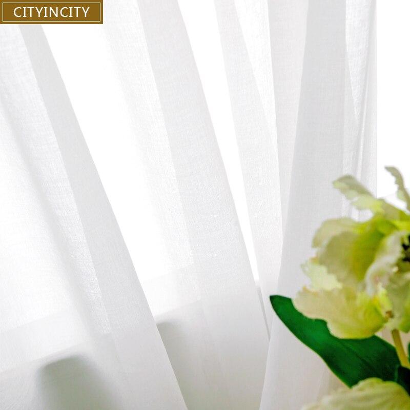 Cortinas de tul blanco suave de CITYINCITY para sala de estar estilo japonés cortina de ventana transparente para comedor de dormitorio personalizado