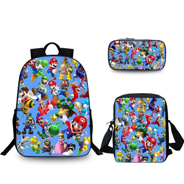 3 pièces/ensemble Super Mario Bros Sonic Enfants sacs d'écolier sac à dos orthopédique Enfants Garçons de L'école des Filles Mochila Infantil Catoon Sacs