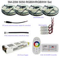 Комплект светодиодных лент 5050 RGBW/RGBWW с сенсорным радиочастотным контроллером 2,4G + адаптер питания 12 В + усилитель 5 м/10 м/15 м/20 м на выбор