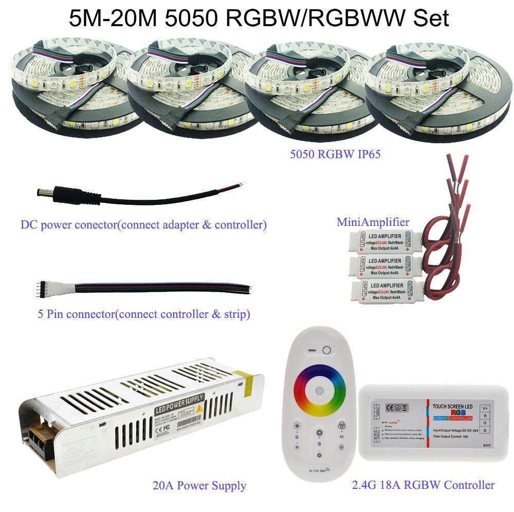 Светодиодная лента 5050 RGBW/RGBWW с сенсорным радиочастотным пультом дистанционного управления 2,4G + адаптер питания 12 В + усилитель 5 м/10 м/15 м/20 м н...