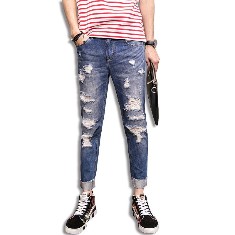 TRUST DREAM 2017 Spring Summer Men Hole Ripped Jeans Ruffed Ankle Length Fashion Man Cool Sexy