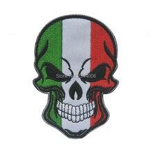 Итальянский Национальный флаг череп голова вышивка патч, вышитые патчи Военная Тактическая повязка на руку вышивка для одежды швейная аппликация