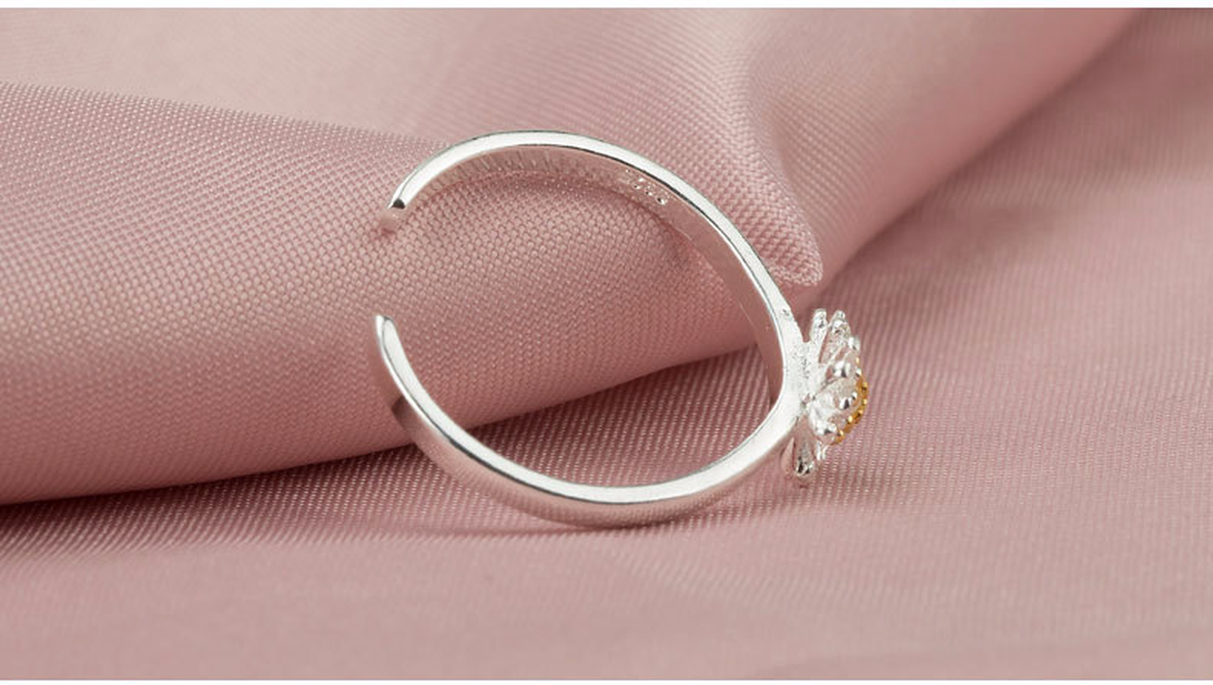 Finger Ring Silver Plated Daisy Flowers Opening Korea Open ended ...