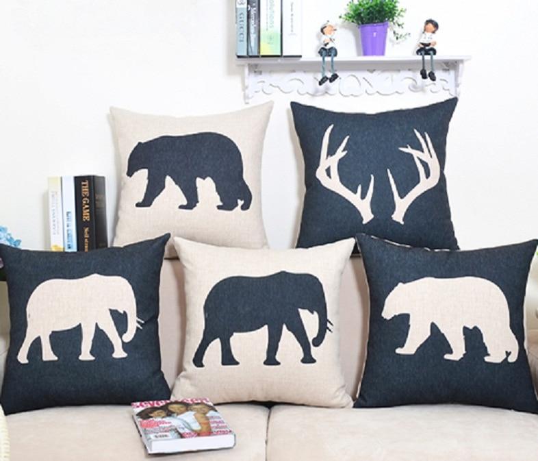 Bear Throw Pillow Covers : Nordic Cushion Cover Dear Elephant Bear Animal Throw Pillow Case Linen Black White Decorative ...