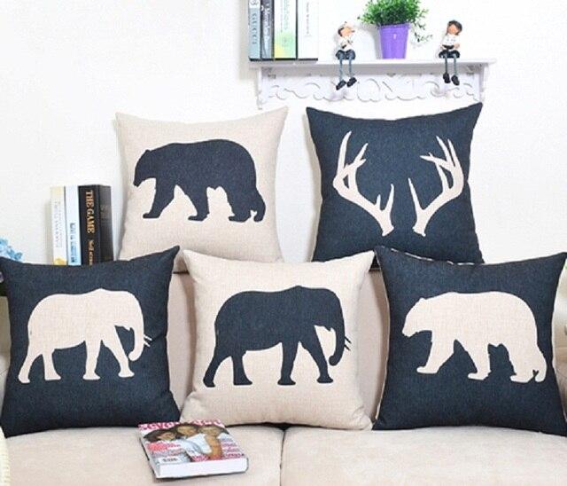 Nordic Cushion Cover Dear Elephant Bear Animal Throw Pillow Case Linen  Black White Decorative Lumbar Pillow