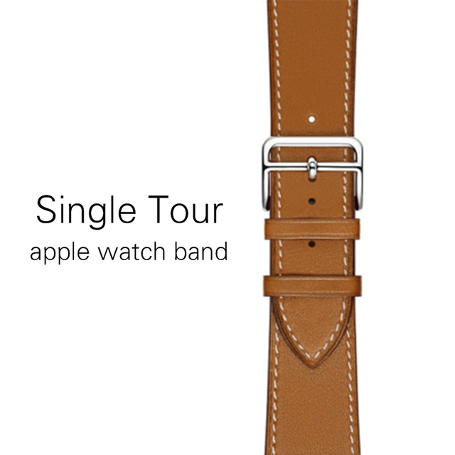 Genuine leather single tour bands for apple watch series 3 2 1, iwatch 4 band strap replacement belt for apple watch 5 40mm 44mm | Fotoflaco.net