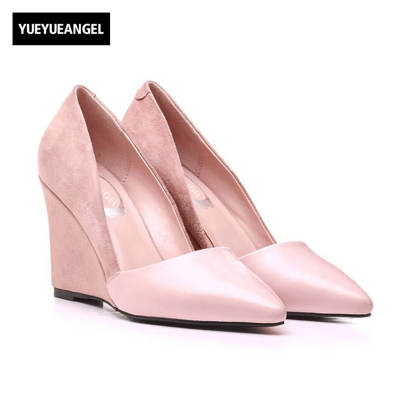 2018 New Wedges Shoes Womens Pumps Top Fashion High Heel Shoes Point Toe Footwear Slip On Party Shoes Sheepskin Genuine Leather 2017 new jjrc h37 mini selfie rc drones with hd camera elfie pocket gyro quadcopter wifi phone control fpv helicopter toys gift
