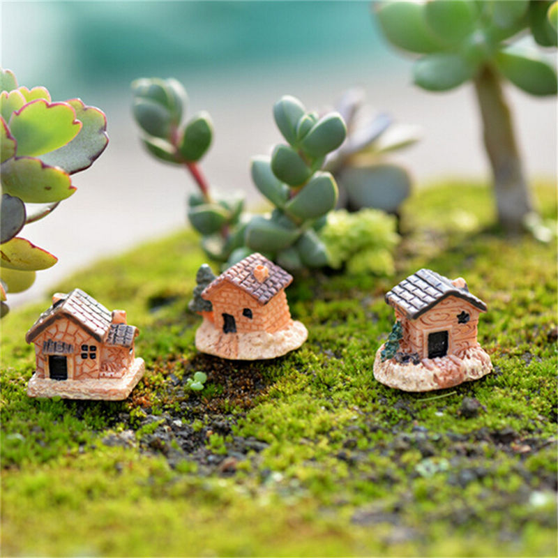 3pc Mini Small House Cottages DIY Toys Crafts Figure Moss Terrarium Fairy Garden Ornament Landscape Decor Random Color Dollhouse