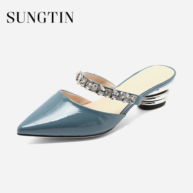 Sungtin Sexy Mid Heel Rhinestone Mules Shoes Women Handmade Genuine Leather  Slippers Summer Slip On Crystal