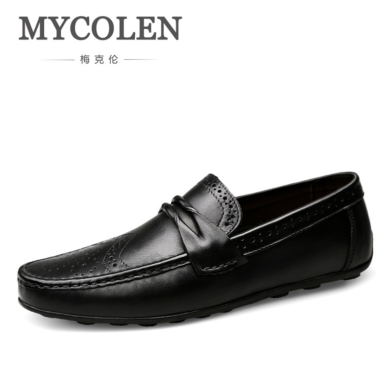 MYCOLEN New Brand Fashion Genuine Leather Men Shoes Most Popular Men Casual Shoes Black Flat Shoes For Men Sapato De NoivaMYCOLEN New Brand Fashion Genuine Leather Men Shoes Most Popular Men Casual Shoes Black Flat Shoes For Men Sapato De Noiva