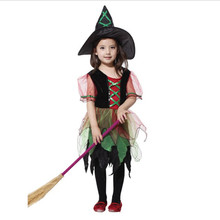 Halloween Kids Elves Sorcerer Cosplay Costume for Girls Forest Princess Costumes Children Dress( no broom)