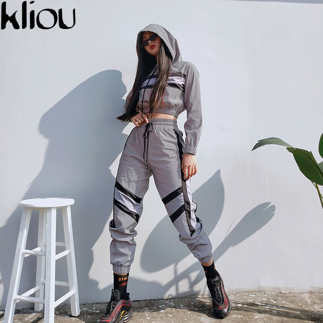 Kliou 2018 New Arrival Women Reflective Two Pieces Sets Silver Top Sweatshirts Elastic Drawstring Pants Tracksuits