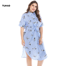 TUHAO 2018 Office Lady Women Shirts Dress Elegant Short Sleeve Striped Dresses Plus Size 5XL 4XL Summer Vestidos CM60