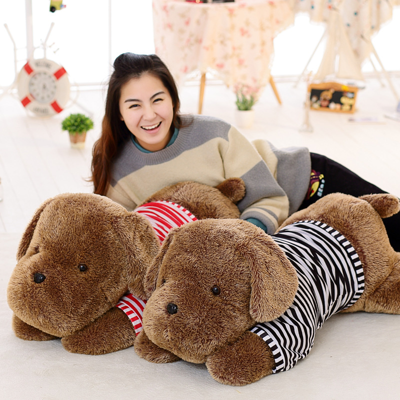 stuffed plush toy large 110cm prone brown dog plush toy soft doll throw pillow birthday gift b0833 fancytrader 120cm super lovely jumbo plush shar pei dog toy large dog doll sleeping pillow gift for child free shipping ft50048