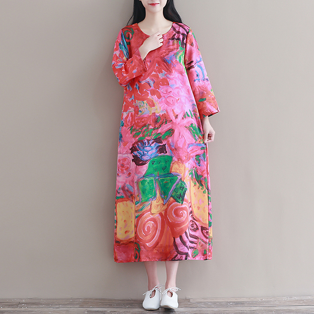 d1513fb8f5e Womens Ethnic Linen Ramie Dress Women Vintage Tunic Boho Casual Colorful Printed  Long Dress Plus Size