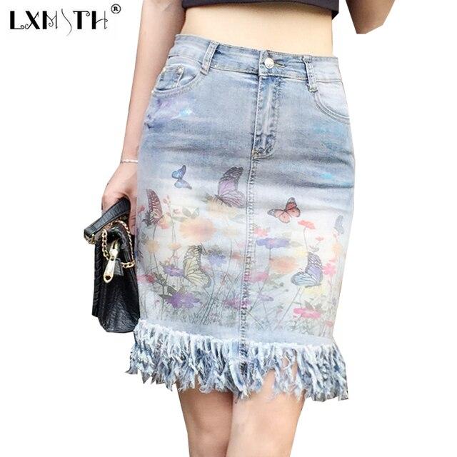 0e4b2d33eb0a 2019 New Summer Vintage Denim Skirt Women Tassel Jean Skirts For Ladies  Butterfly Printing Zipper Button Tight Skirt Pocket XL