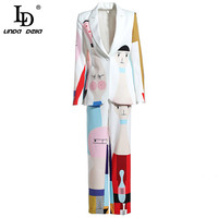 LD LINDA DELLA Spring Fashion Runway Two Pieces Set Women's Cute Colorful Cartoon Printed Top Casual Pant Set Suit Twinset