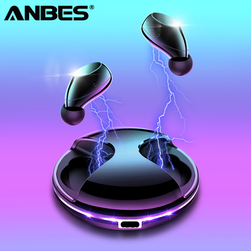 ANBES Magnetic Charging Bluetooth V5 0 Earphone Wireless IPX 5 Waterproof Earphones Bass Stereo Sound Earbuds
