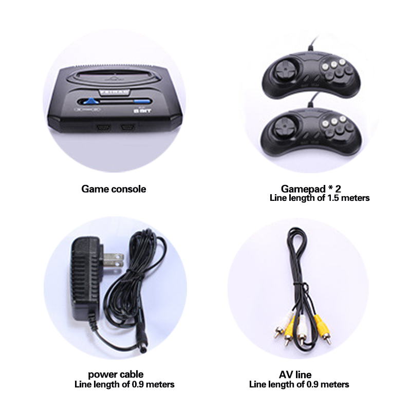 Handheld TV Video Game Console with Double Gamepads and Card Slot Supports AV Output 5
