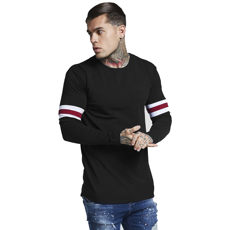 2019 Brand New Men's Shirt Summer New Product Striped Stitching Round Neck Long-sleeved T-shirt