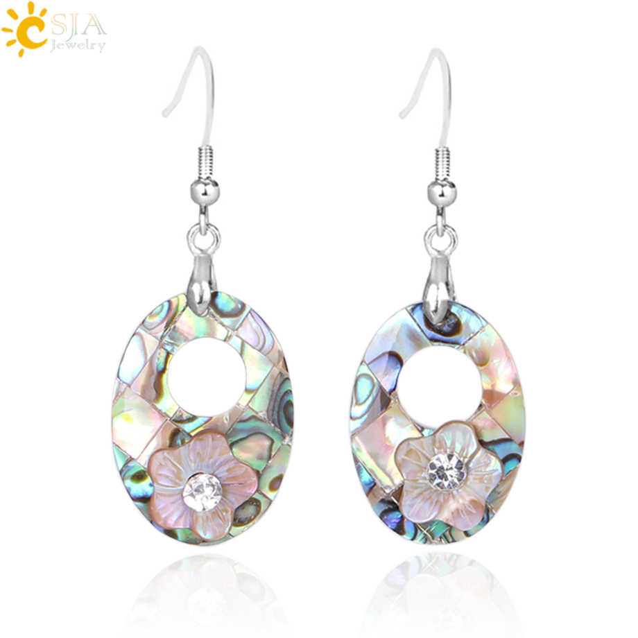 CSJA Natural Abalone Shell Vintage Dangle Drop Earrings for Women Crystal Rhinestone Flower Statement Earrings Boho Jewelry E799