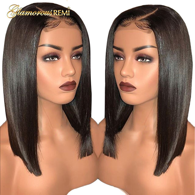 $ US $55.89 Straight Short Bob Wig Brazilian Lace Front Human Hair Wigs 13x6 Deep Part Women Remy Hair Wig Preplucked Baby Natural  Hairline