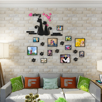 2017 NEW Cats Love 3D Acrylic Photo Frame Stickers Cartoon Three Dimensional Wall Stickers Dining Room