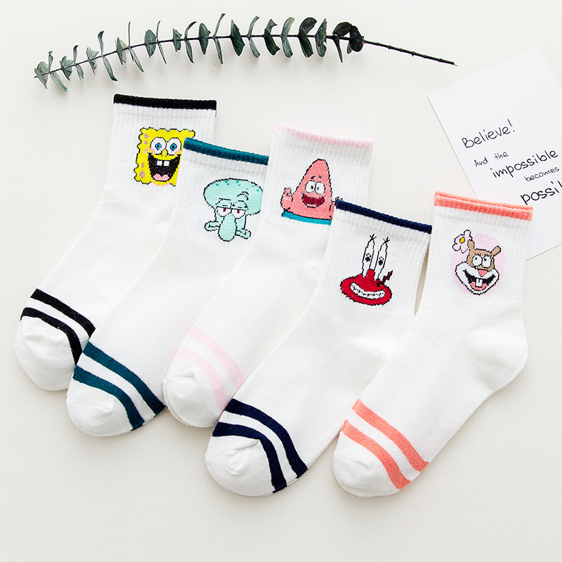 Dreamlikelin Cartoon Character Print Short Woman   Socks   Harajuku Cute Ankle   Socks   Hipster Autumn Funny Female   Socks