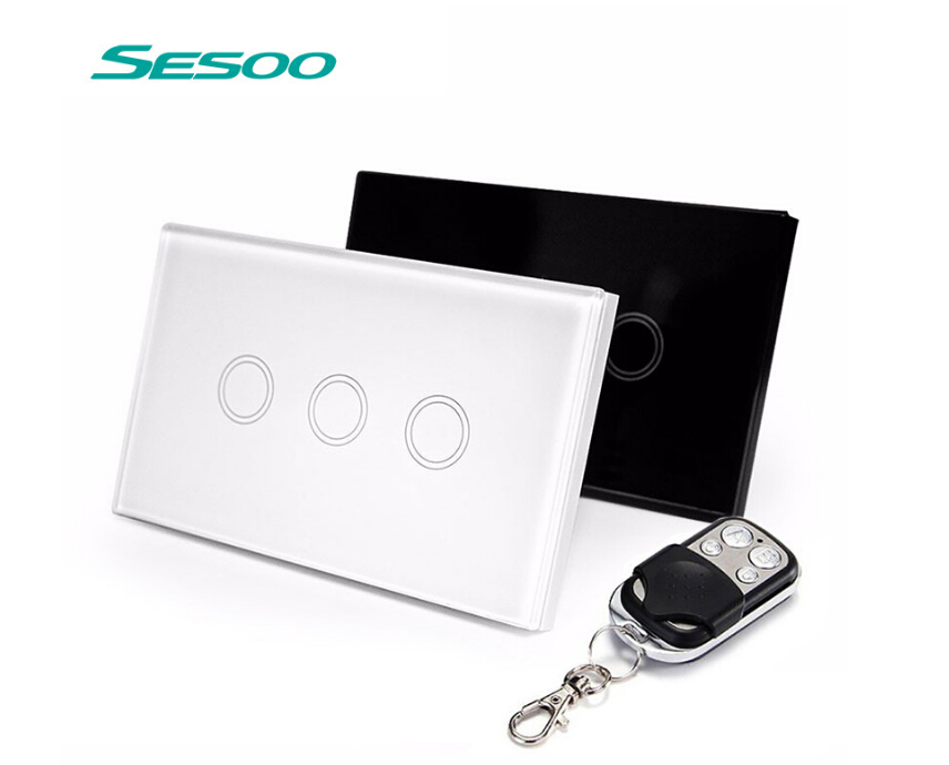 US Standard SESOO Remote Control Switch 3 Gang 1 Way ,RF433 Smart Wall Switch, Wireless remote control touch light switch eu uk standard sesoo remote control switch 3 gang 1 way wireless remote control wall touch switch light switch for smart home