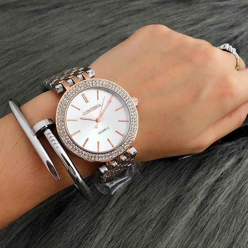 2017 Relogio Feminino Luxury Brand Contena Women Dress Watches Steel Quartz Watch Diamonds Gold Watches For Womans Wristwatches relogio feminino just for us