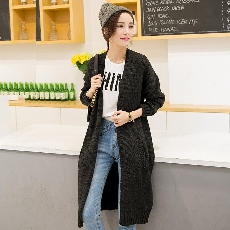 Nouveau 2015 mode femmes lâche slim long tricoté chandail cardigan grande taille vêtements d'extérieur pour femmes blouse élégant automne hiver manteau XXXL