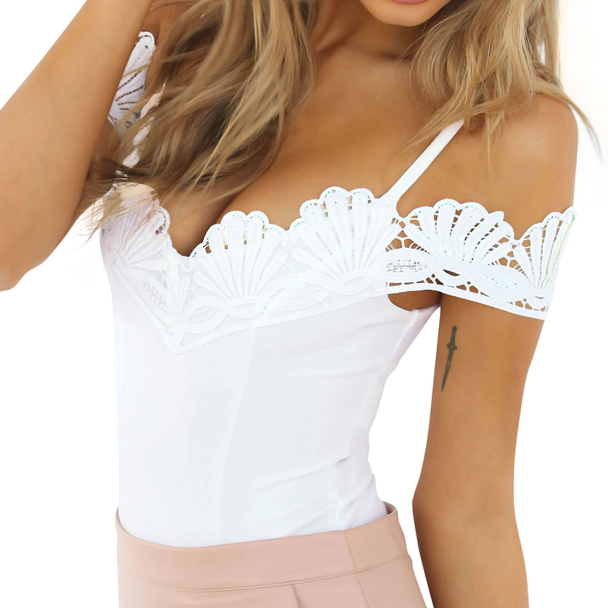Fashion sexy jumpsuit bodysuit women lace joining together Condole belt jumpsuit Clothes that increase a womans attractiveness
