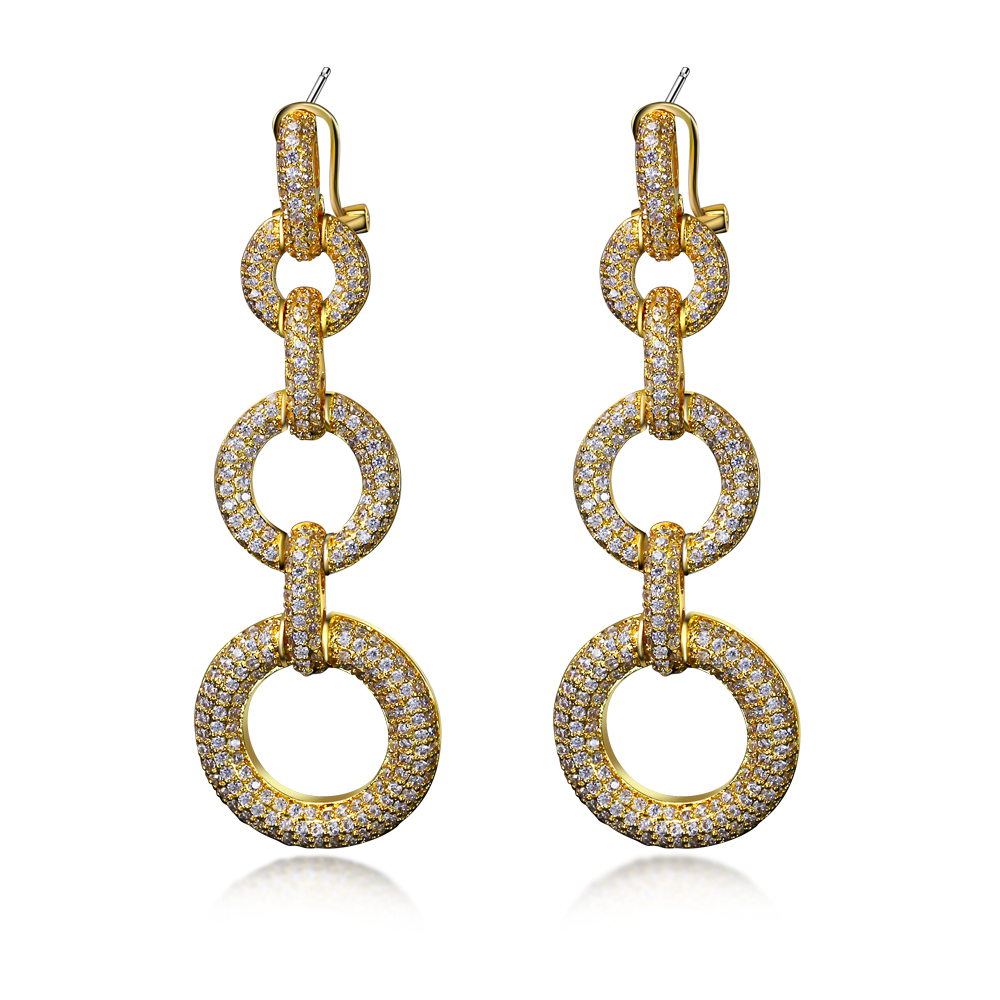 Party Earring for Women Made with Cubic zirconia big drop Earrings Gold color wedding jewelry Free shipment