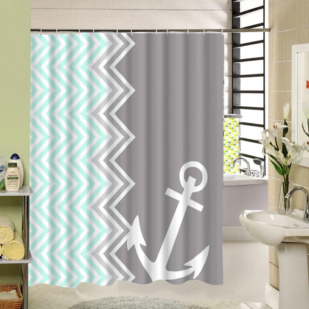 Nautical stripe shower curtain - Custom Stripe Shower Curtain Zigzag Anchor Waterproof Eco Friendly Fabric Bath Curtain With Rings For Home Nautical Decor
