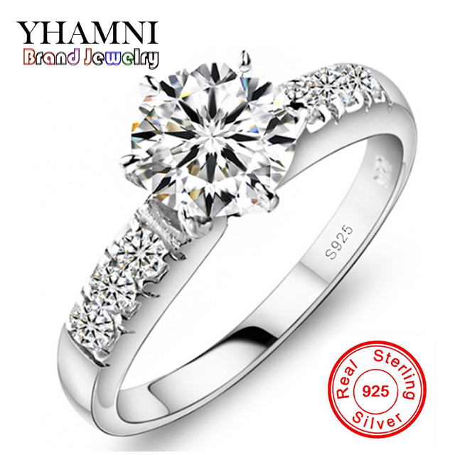 Have Silver Certificate!!! Real 100% 925 Sterling Silver Engagement Ring Set 1 Carat Simulated Diamant Wedding Rings For Women