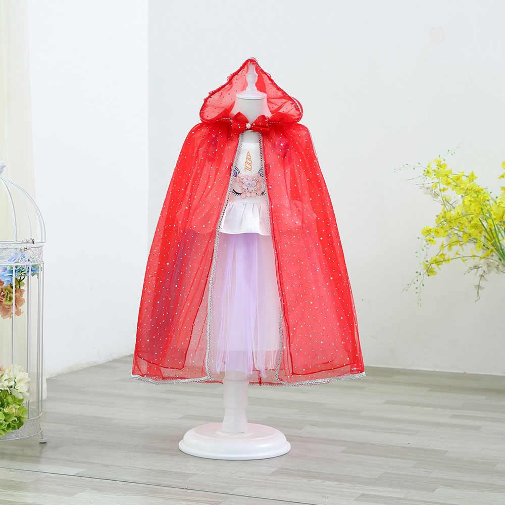 Сетчатая мантия для девочек; детская фатиновая накидка принцессы Эльзы с капюшоном и бантом; карнавальный костюм ведьмы для маленьких детей; одежда для дня рождения, Рождества, Хэллоуина