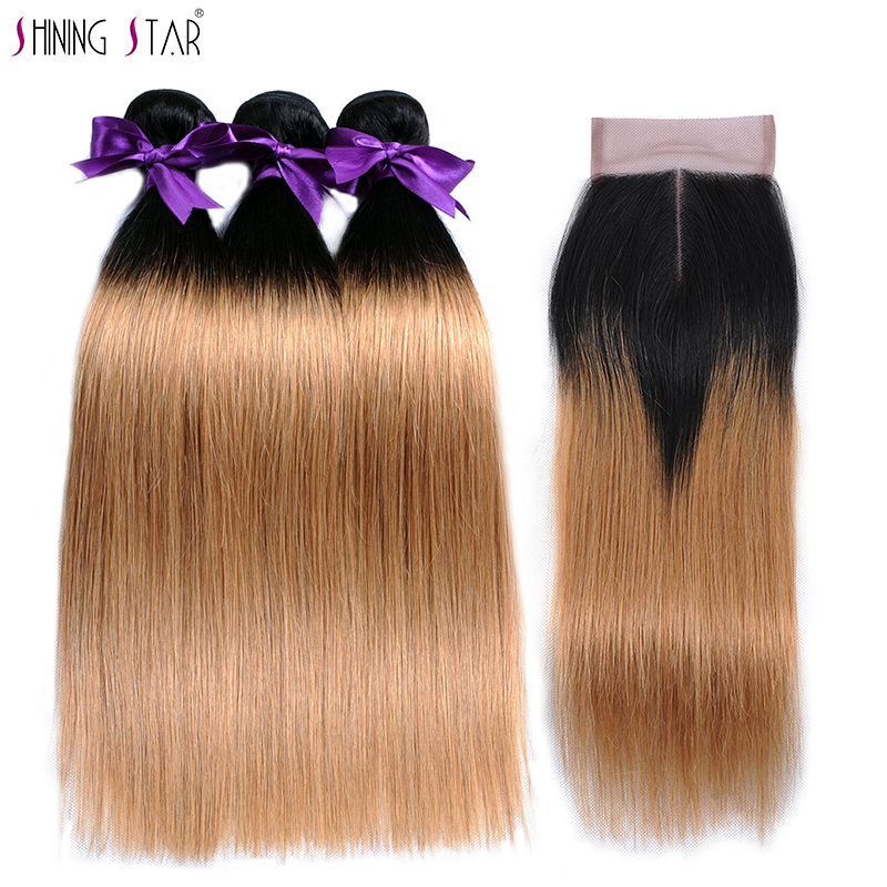 3 Brazilian Straight Hair Ombre Bundles With Closure Human Hair Weave 1b 27 Honey Blonde Bundles