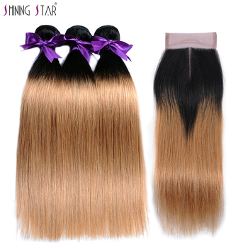3 Brazilian Straight Hair Ombre Bundles With Closure Human Hair Weave 1b 27 Honey Blonde Bundles With Closure ShiningStar Noremy