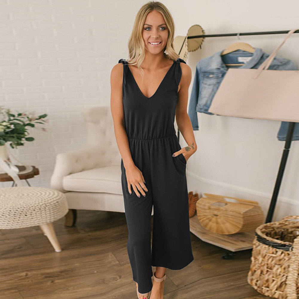 Off Shoulder Jumpsuit V Neck Solid Bow Lace up Strappy Women Summer Sling Sexy Casual Long Jumpsuits abbigliamento donna 4EM