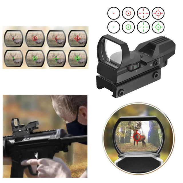 Berburu Pandangan Lingkup Optik Merah Hijau Dot Sight Lingkup Sniper Pistol Airsoft Senjata Udara Refleks 4 Reticle Riflescopes Hologram S
