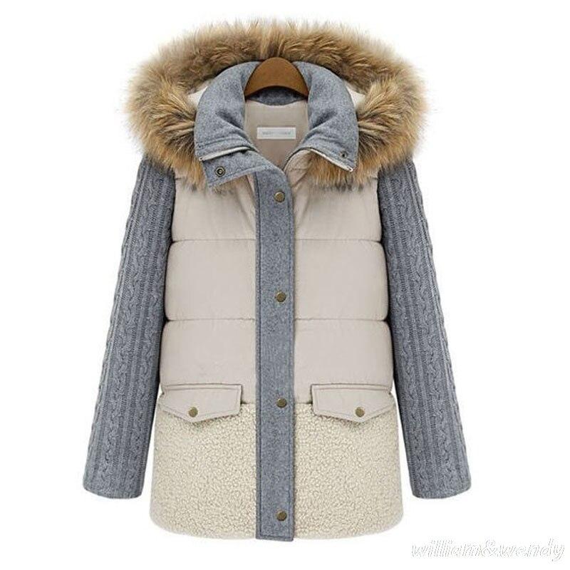 Woman Ukraine Winter Knitted Sleeve Warm Windcheater Hooded Cheap C font b Jacket b font Thick