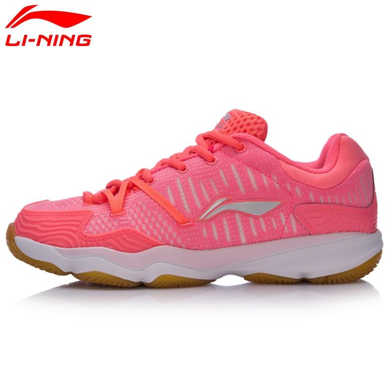 Li-Ning Women Double Jacquard Badminton Training Shoes Breathable Hard-Wearing Sneakers Li Ning Sports Shoes AYTM078 li ning men professional tennis shoes training breathable hard wearing shock absorbant sneakers li ning sport shoes atak007
