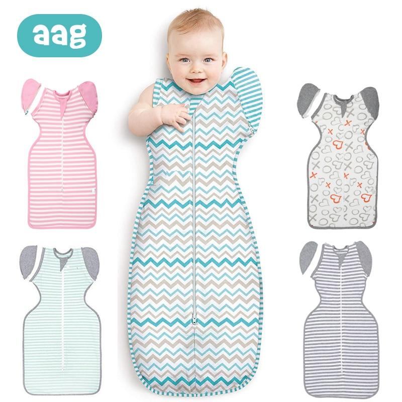 Aag Cotton Baby Sleeping Bag Sleep Sack Infant Stripe Blanket Sleeping Wrap Zipper Swaddle Scarf Envelope Wrap Quilt 0 12m