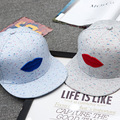 HOT couples cartoon baseball hat red lip blue lip hat for women man sun cap ca293